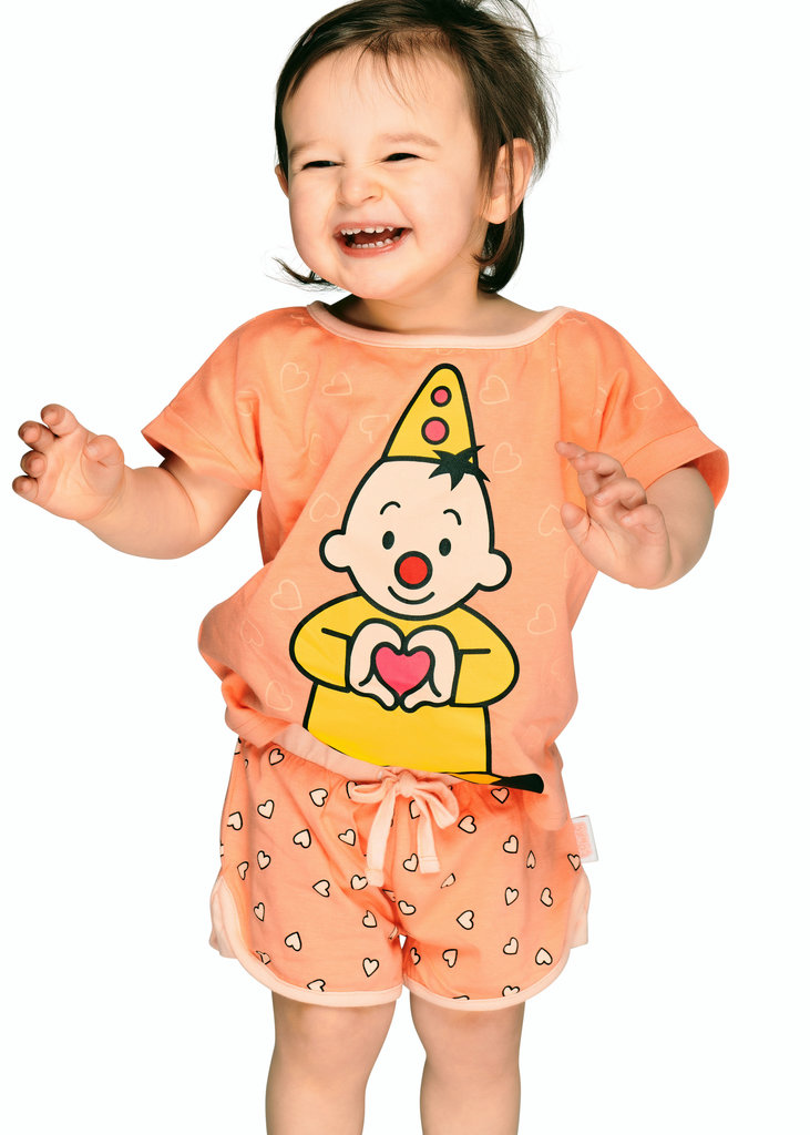 Studio 100 Bumba katoenen meisjes shortama kleur zalm met print Bumba mt 86/92 of 98/104