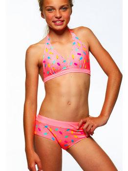 Boobs & Bloomers Boobs & Bloomers Candy halterbikinitop & short kleur pink print ijsjes