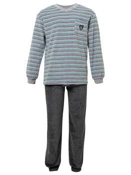 Lunatex Lunatex Mason velours heren pyjama  licht grijs gesteept mt S t/m 2XL