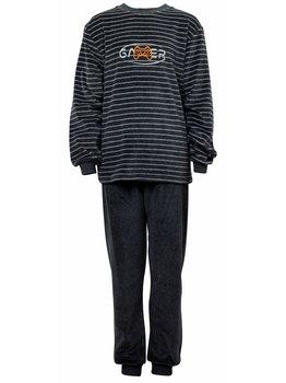 Lunatex Lunatex Scott velours jongenspyjama jasje grijs gestreept & broek uni kleur grijs mt 128 t/m 176