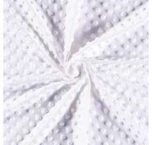 Minky Wellnessfleece Punkte weiss 150 cm breit