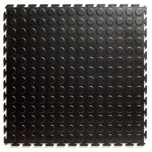 PVC kliktegel - motief: Noppen - kleur: Zwart-Recycled - Dikte 4.5mm