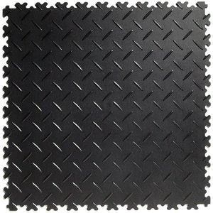 PVC kliktegel - motief: Diamant (tranenplaat) - kleur: Zwart-Recycled - Dikte 4mm