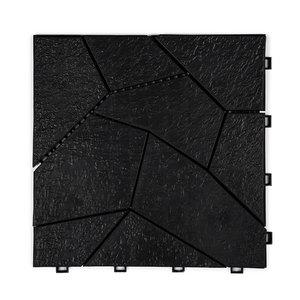 Harde PVC open natuursteen tegels - zwart - 30x30cm