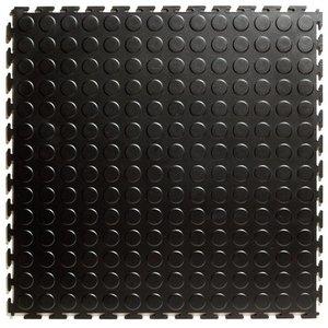 PVC kliktegel - motief: Noppen - kleur: Zwart - Dikte 4.5mm