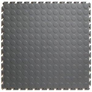 PVC kliktegel - motief: Noppen - kleur: Donkergrijs - Dikte 4.5mm
