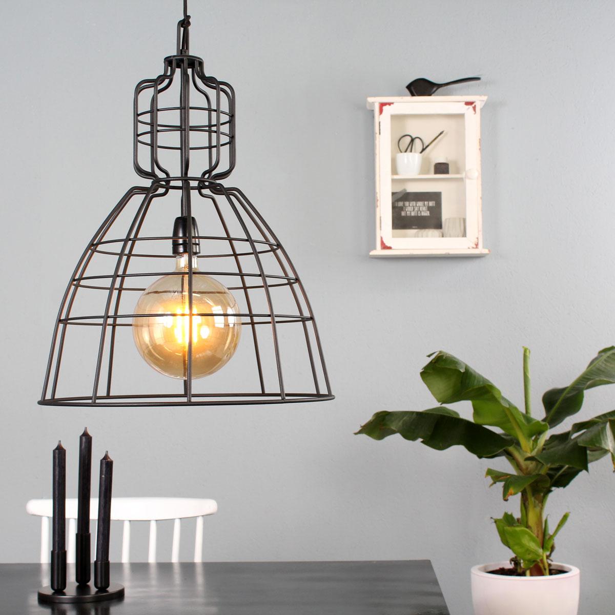 draadlamp metaal zwart