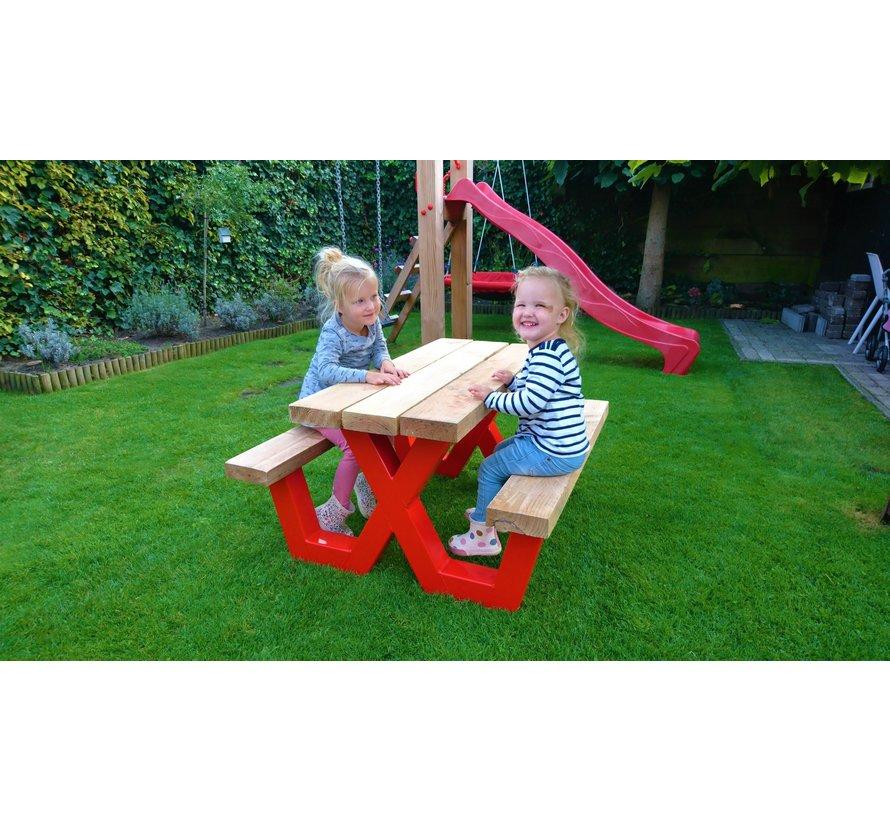 Kinder picknicktafel met stalen frame en Douglas hout   ** Gratis thuis bezorgt! **