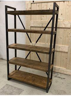 Doinq Stalen boekenkast met oude houten planken