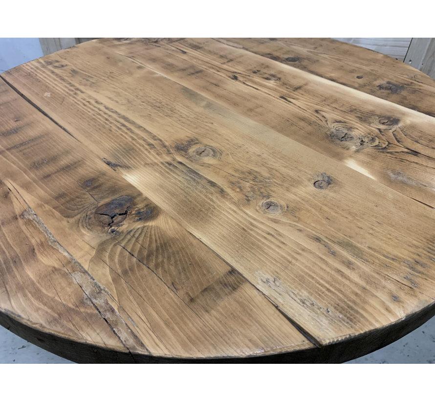 Bartafel rond oud hout met stalen onderstel