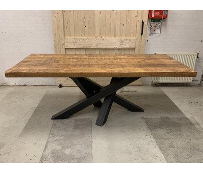 Doinq Eettafel rechthoekig oud hout met stalen onderstel  * Gratis thuis bezorgd!