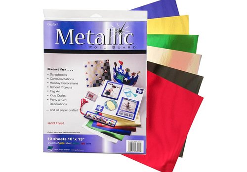 "Grafix Grafix - Metallic Foil Board 10x13"" - Pack of 10 sheets"