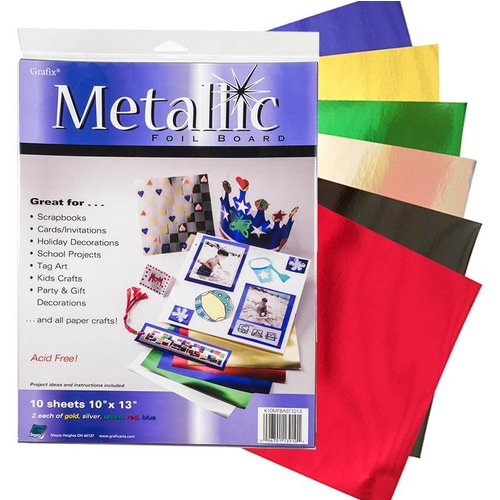 "Grafix - Metallic Foil Board 10x13"" - Pack of 10 sheets"