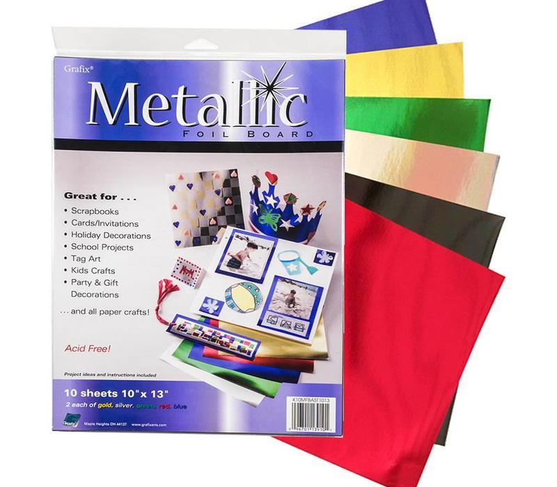 "Grafix - Metallic Foil Board 10x13"" - Pack of 10 sheets"
