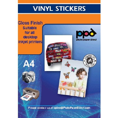 Inkjet - Glossy Sticker watervast - Wit - per vel