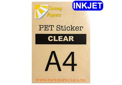 Sunny Papers Inkjet - PET sticker (watervaste lijm) - Clear - A4 - per vel