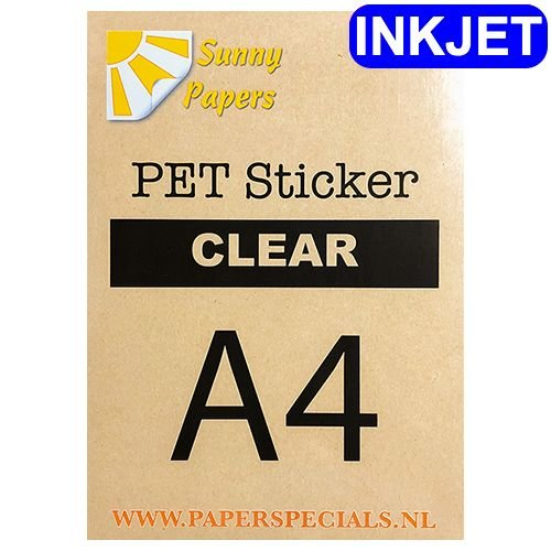 Inkjet - PET sticker (watervaste lijm) - Clear - A4 - per vel