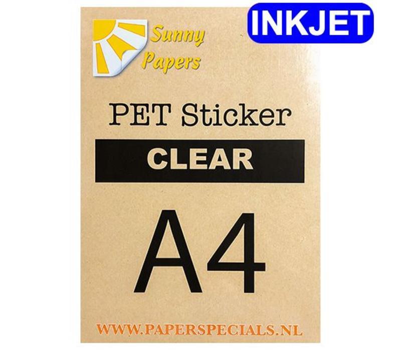 Inkjet - Sunny PET sticker (watervaste lijm) - Clear - A4 - per vel