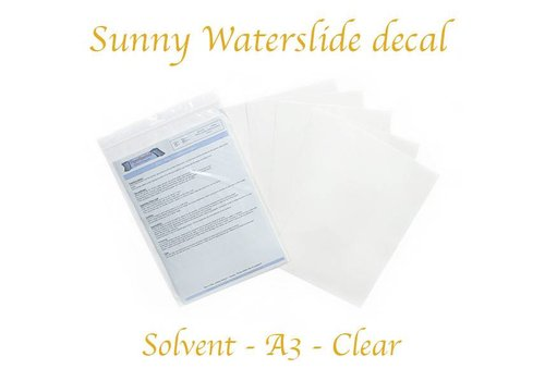 Sunny Papers Solvent - Sunny Decal paper (blue backing) - Clear - A3 – per sheet