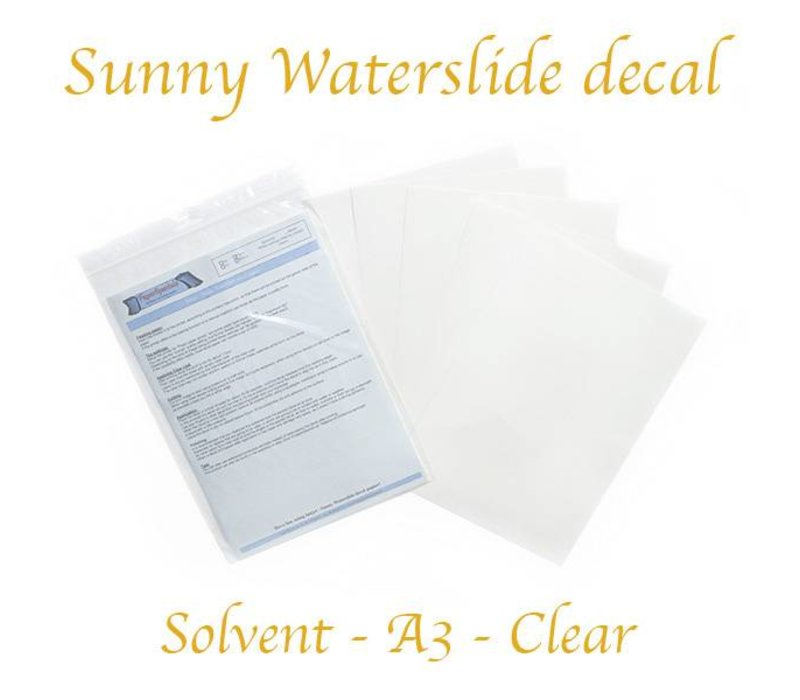 Solvent - Sunny Decal paper (blue backing) - Clear - A3 – per sheet