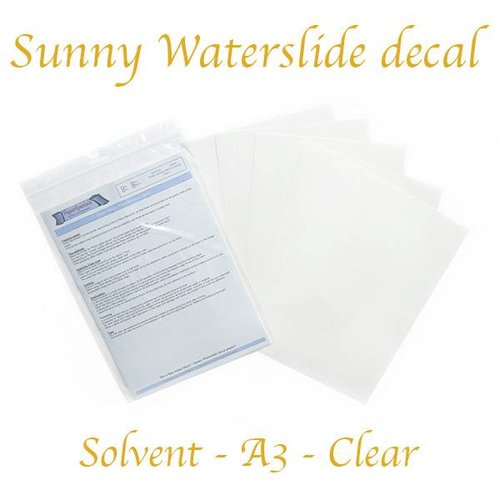 Solvent - Sunny Decal paper THIN (blue backing) - Clear - A3 – per sheet