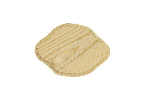 Vurenhout bordje 7mm dik - Ovaal gegolft 13x9cm