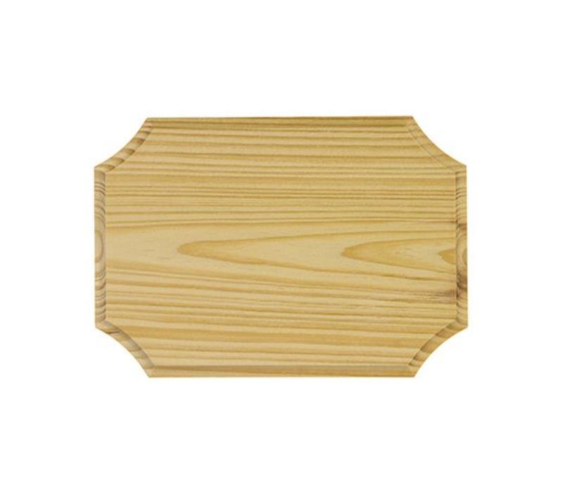 Vurenhout bordje 7mm dik - Langwerpig 12.5x9cm