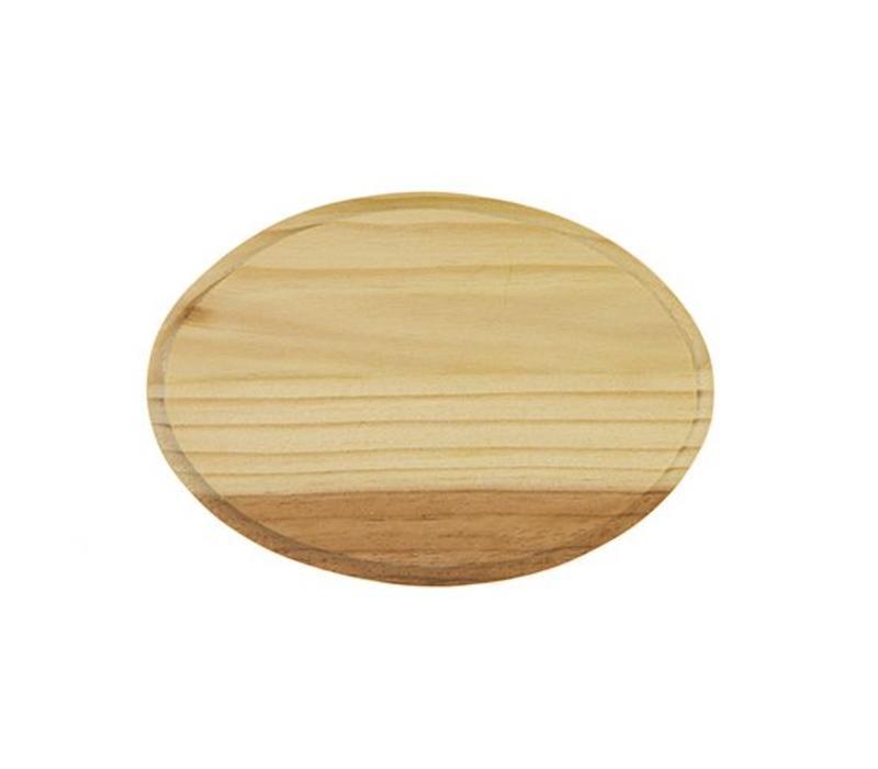 Vurenhout bordje 7mm dik - Ovaal 12.5x9cm