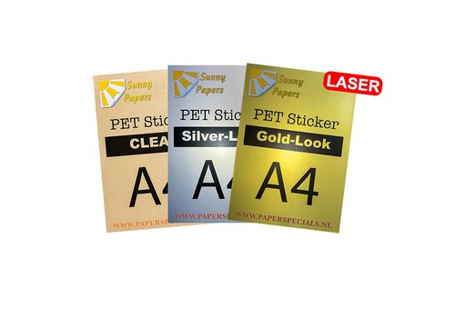 Sunny Papers Laser - Sunny PET sticker (watervast) - A4 – per vel