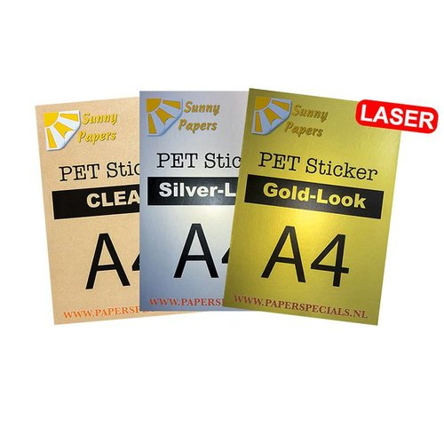Laser - Sunny PET sticker (waterproof) - A4 – per sheet