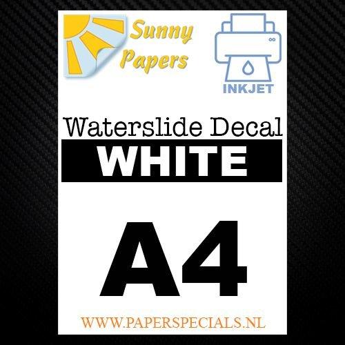 Inkjet - Waterslide Decal papier -  A4 -  Wit  - per vel