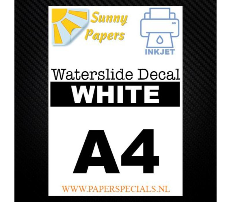 Inkjet Waterslide Decal papier - A4 -Wit  per vel