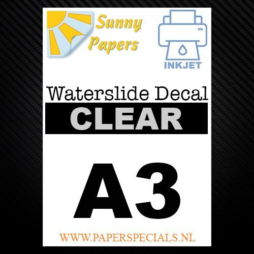 Inkjet | Waterslide Decal Papier | Transparant | A3