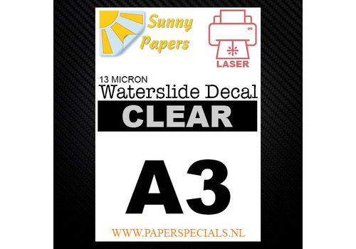 Sunny Papers Laser | Waterslide Decal Papier Standaard 13µ | Transparant (Witte drager) | A3