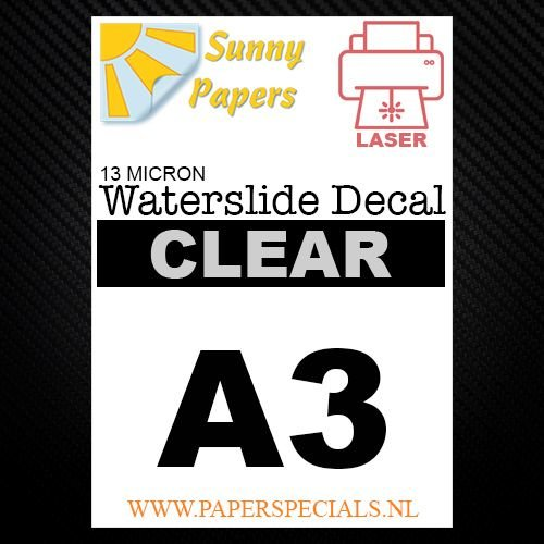 Laser | Waterslide Decal Papier Standaard 13µ | Transparant (Witte drager) | A3