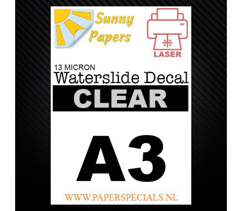 Laser | Sunny Waterslide Decal Papier Standaard 13µ | Transparant (Witte drager) | A3