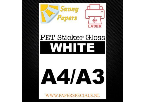 Sunny Papers Laser - Sunny PET sticker (watervast) - Wit Gloss – per vel