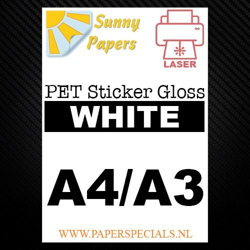 Laser - Sunny PET sticker (watervast) - Wit Gloss – per vel