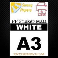 Laser - Sunny PP sticker (waterproof) - White Matt – per sheet