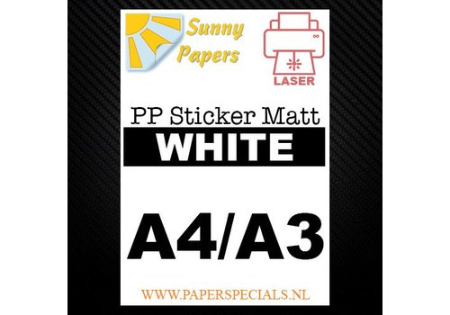 Sunny Papers Laser - Sunny PP sticker (watervast) - Wit Mat – per vel