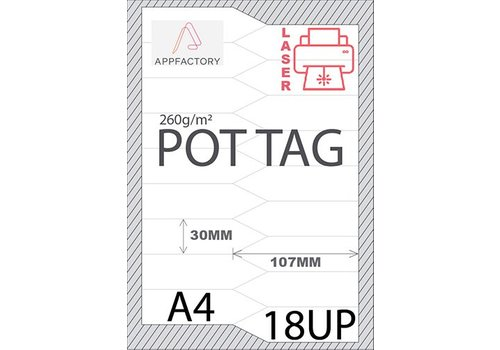 AppFactory Pot Tag 195µ A4 -18st p/sheet