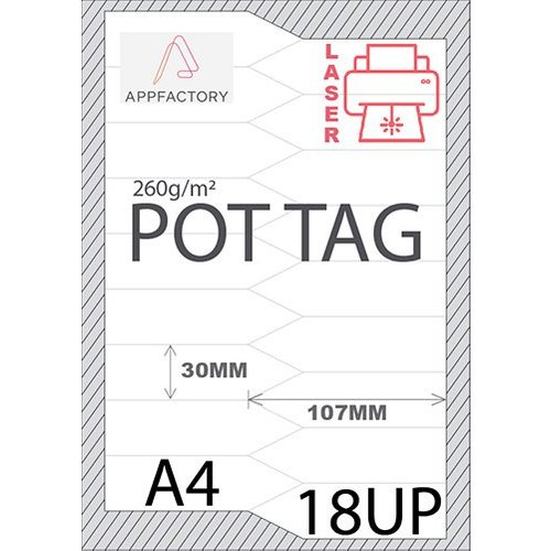 Pot Tag 195µ A4 -18st p/sheet