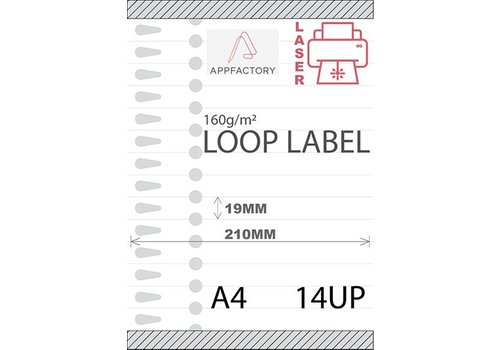 AppFactory Loop Label 120µ A4 -14 p/sheet