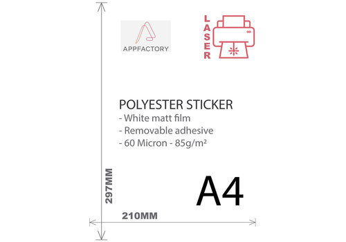 AppFactory Laser - PET Sticker (Niet permanent) Mat Wit - Per vel