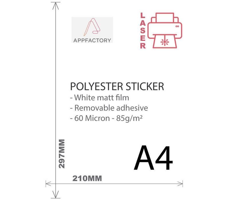 Laser - PET Sticker (Niet permanent) Mat Wit - Per vel