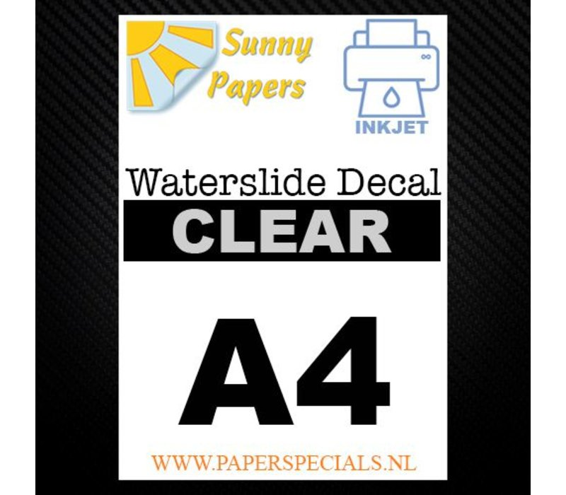 Inkjet | Sunny Waterslide Decal Papier | Transparant | A4