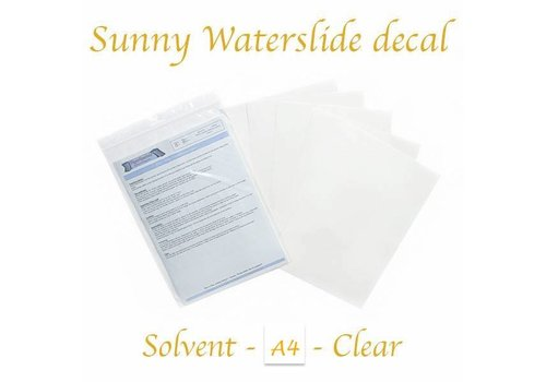 Sunny Papers Solvent Waterslide Decal Paper A02 | Clear (Blue backing) | A4