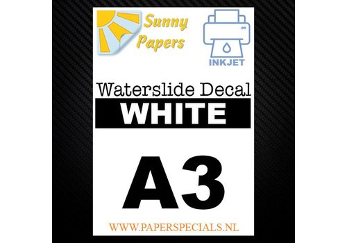 Sunny Papers Inkjet | Waterslide Decal Papier | Wit | A3