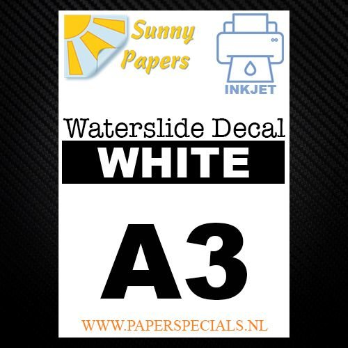 Inkjet | Waterslide Decal Papier | Wit | A3