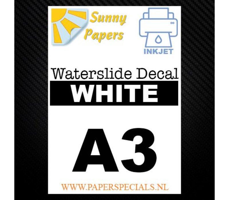 Inkjet | Sunny Waterslide Decal Papier | Wit | A3